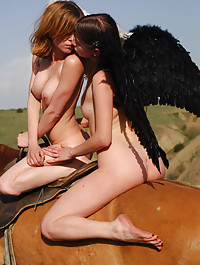 Two young naked angels go out exploring on a fresh horse.