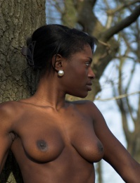 Aubrey is wonderful woman of color in this nude out door shoot