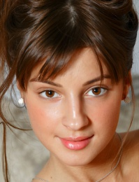 Brown eye brunette young little model