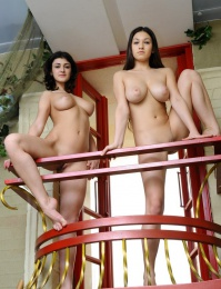 Carefree and uninhabited girl-to-girl interaction between two busty models