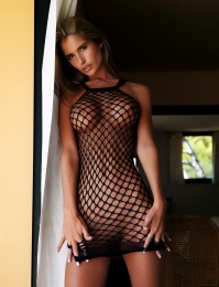 flashy fishnet top and long walk over you legs