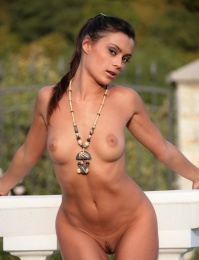 Hot girl naked in her back yard in the hills