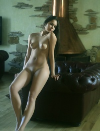 hot girl on the couch naked