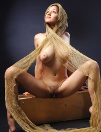 Hot girl with big boobs in a erotic scene