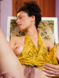 she strips her hot yellow dress for this sizzling series