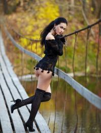 xxx outdoor brunette with dark ideas